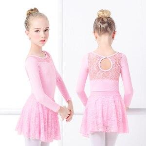 Image 4 - בנות בלט שמלת התעמלות בגדי גוף תחרה עקף בגדי גוף ארוך שרוול ילדים פעוט התעמלות בגד ים לריקודים