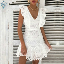 Ameision Vintage white lace cotton embroidery women dress Ruffled summer mini Sexy party short dresses 2019 vestidos