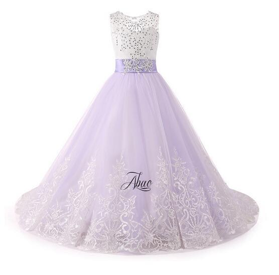 все цены на Girls Formal Dresses 2017 Flower Girls Princess Dresses Kids Lace Floor Length Sequins Party Ball Gown Children's Wedding Dress онлайн