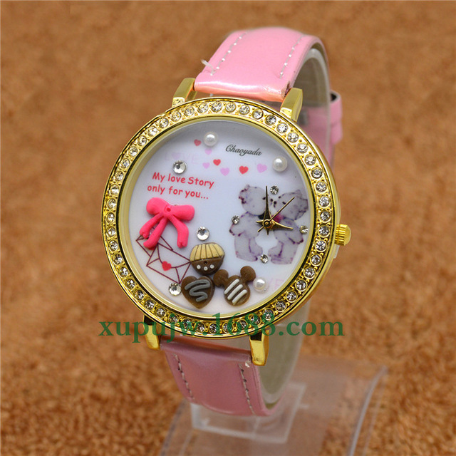 HOT sell008 Korean watch bear table polymer clay watch cartoon lady children the hours of chaoyada watches