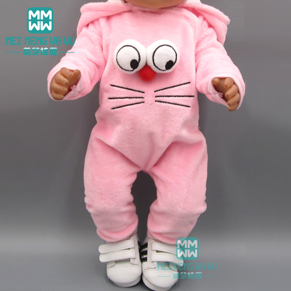 Doll Clothes For 43cm Toy New Born Doll Accessories And American Doll Cartoon Big Eyes Crawling Baby Clothes