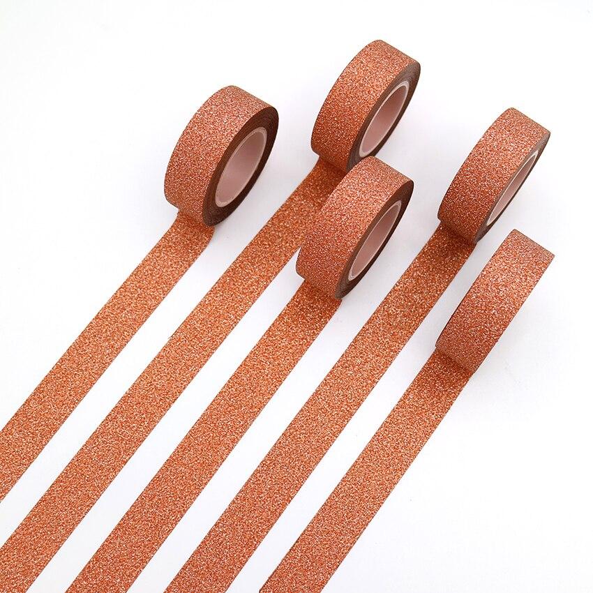 1PCS Creative Orange Colour Washi Tape Glitter Flash Stickers DIY Album Decoration Adhesive Hand Account Paper Tape Masking Tape