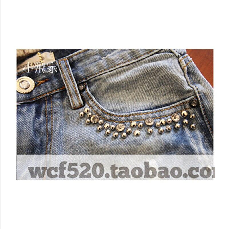 Diamante Casual Vaqueros Damas Mezclilla Nyfs Cortos Pantalones Cordón De Nuevo Mujer Blue 2019 Verano qqCIw6v