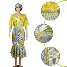 d7df0a1f8d23bd Afrikanische Kleider für Frauen afrikanische Wachs Druck seide und schnur  spitze Party Kleid Dame Gnade Abendkleid Maxi Kleid D1.