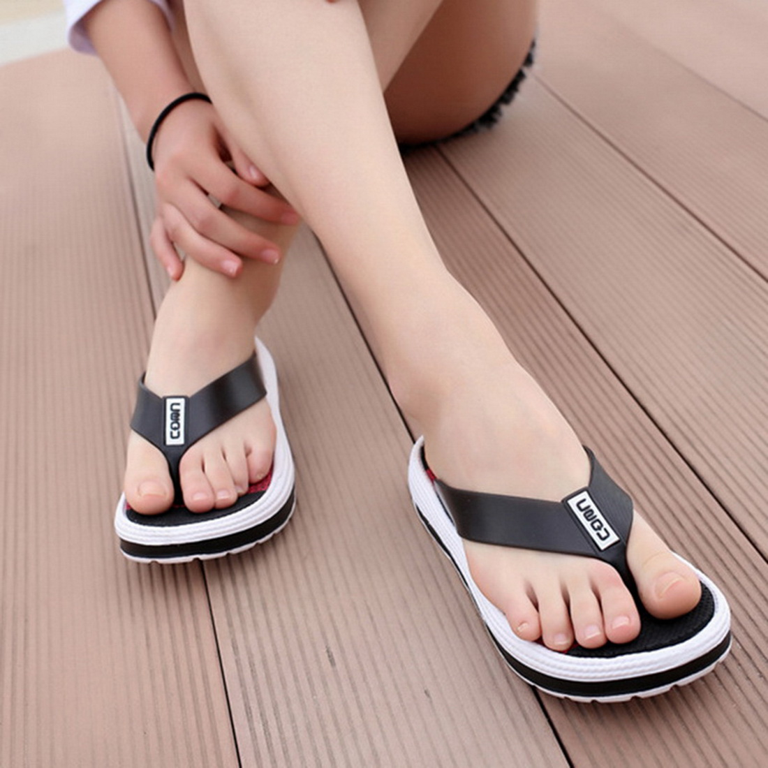 Adisputent Summer Slippers Wedge-Shoes Flip-Flops Women Massage Female Casual Striped