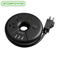 NTONPOWER ODR Small Portable USB Travel Power Strip US Plug Socket Overload Protection 3AC Outlet with 3 USB Smart Charging Port
