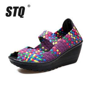 Image 5 - STQ 2020 letnie kobiety sandały na platformie buty damskie tkane płaskie buty klapki szpilki buty plastikowe damskie wsuwane buty buty 559