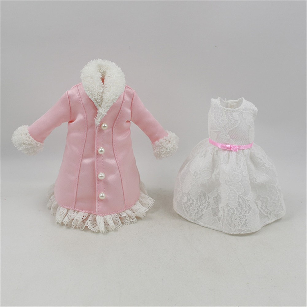 fortune days for 1/6 blyth doll icy licca body lace outfit pink coat white dress цена и фото