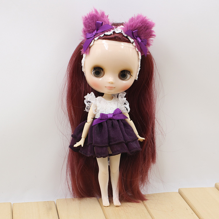Middie Blythe Doll Purple Pink Yellow Dress Cat Ear 3