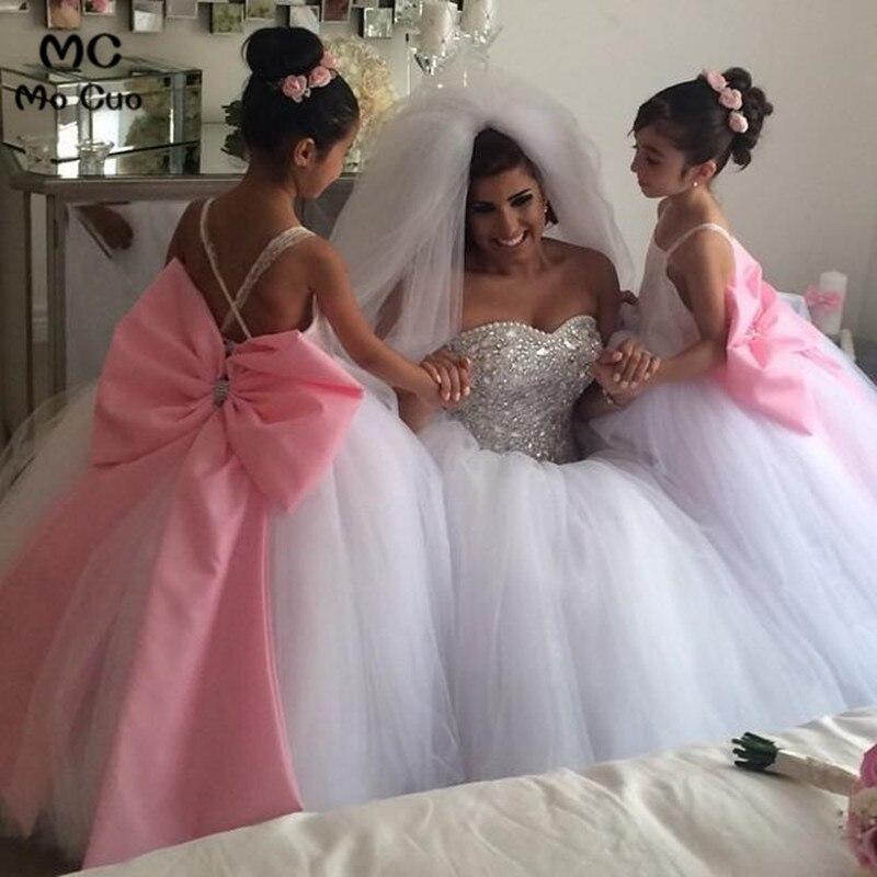 2019 Lovely Amazing first communion   dresses   for   girls   Bow Spaghetti Straps kids evening gown   flower     girl     dresses   for weddings