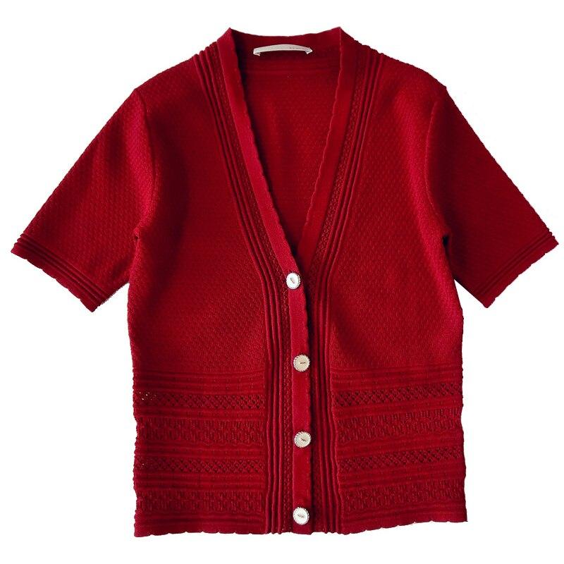 KENVY marque mode femmes haut de gamme de luxe femme été 2018 nouveau col en v élégant serré court tricoté Cardigan à manches courtes manteau
