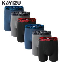Men Underwear Panties Boxer-Shorts KAYIZU Plus-Size Comfortable Male 6pcs Lot Solid Cueca