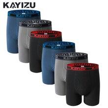 KAYIZU 6Pcs \ Lot coton boxeurs hommes sous vêtements doux Boxer Shorts solide hommes sous pantalon grande taille confortable homme culotte Cueca