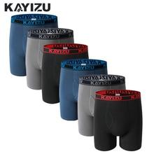 Kayizu 6pcs lotコットンボクサー男性下着ソフトボクサーパンツ固体男性underpantプラスサイズ快適な男性パンティーcueca