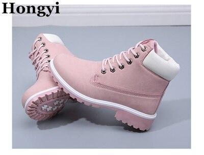 6738334c € 43.0 35% de DESCUENTO|Nuevas botas de invierno a la moda para mujer  zapatos para dama botas de cuero suave marca Rosa Hongyi Martin botas ...
