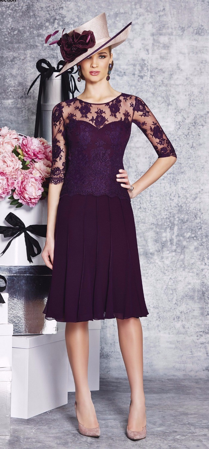 2016-Modest-Purple-Mother-of-the-Bride-Dress-Half-Sleeves-Knee-Length-Formal-Evening-Party-Gowns