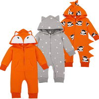 Cartoon Overalls Cottton Newborn Baby Rompers Long Sleeve Hooded Newborn Baby Infant Coveralls Spring Autumn Cartoon