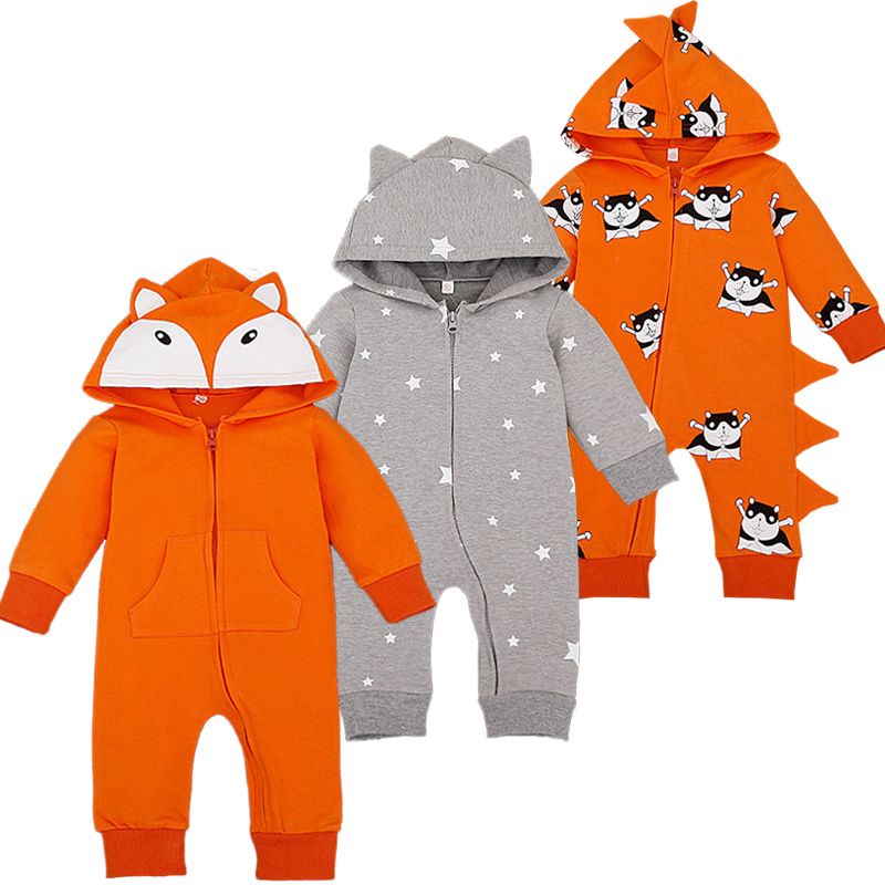 Cartoon Overalls Cottton Newborn Baby Rompers Long Sleeve Hooded Newborn Baby Infant Coveralls Spring Autumn Cartoon Overalls
