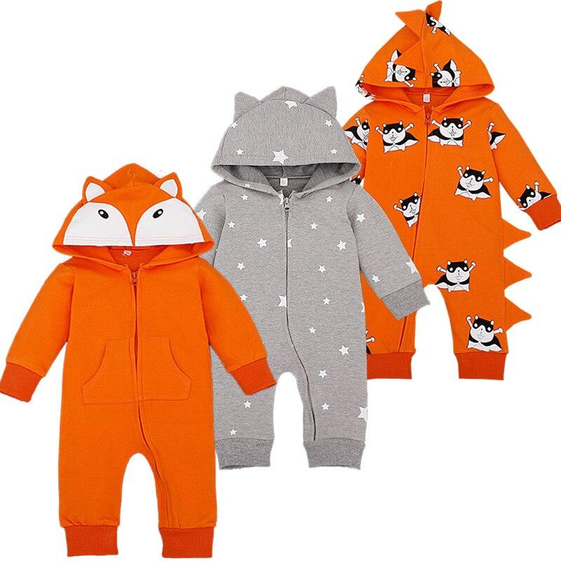 Cartoon Overalls Cottton Newborn Baby Rompers Long Sleeve Hooded Newborn Baby Infant Coveralls Spring Autumn Cartoon Overalls ...