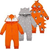 Cartoon Overalls Cottton Newborn Baby Rompers Long Sleeve Hooded Newborn Baby Infant Coveralls Spring Autumn Cartoon