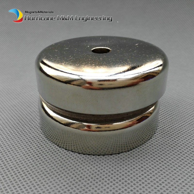 105kg Pulling Pot Magnet Dia 60x15 mm M8 Countersunk Hole Mounting Magnetic Strong Magnet Neodymium Permanent Magnets 2 pieces