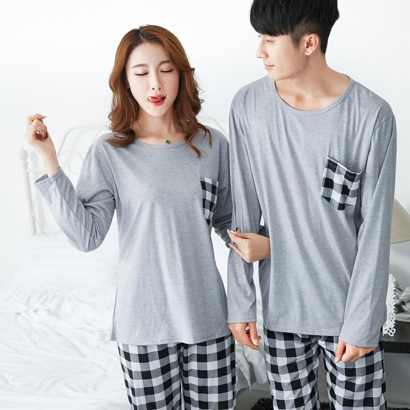 Cotton Pajama Sets for Women 2018 Autumn Couples Long Sleeve Pyjama Plaid Pants Sleepwea ...