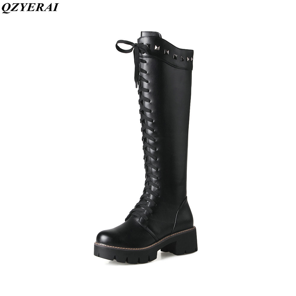 QZYERAI Martin boots winter warm women with rivet long tube boots warm women shoes snow boots