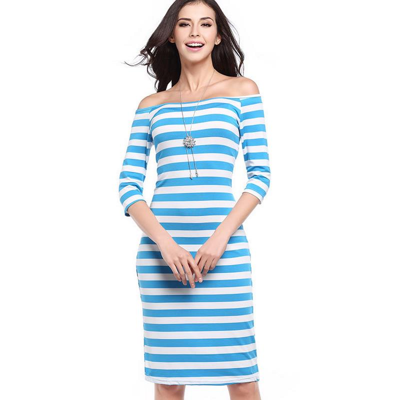 2018 summer new fashion a word blue striped women's pencils dress sexy sexy seven-point sleeves sleeves OL girl beach dress G43 image