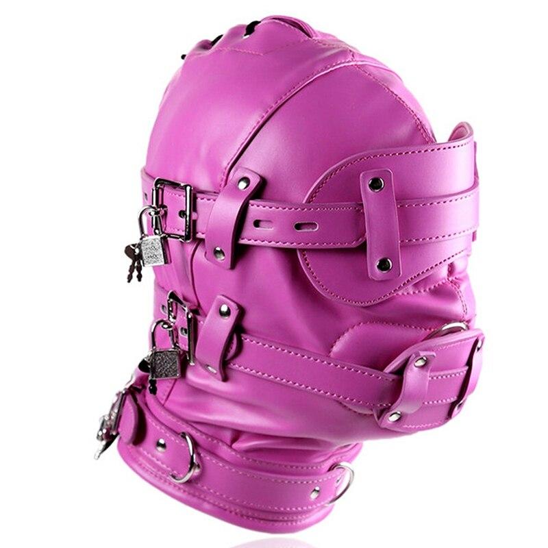 Голова Кожа жгут полиуретановая маска капюшон рот Даг БДСМ костюм фетиш бондаж регулируемый - Цвет: PG0186