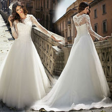 Lace Long Sleeve Wedding Dress 2015 Romantic Vintage Sweetheart Neck A Line Ivory White Plus Size Vestido De Noiva