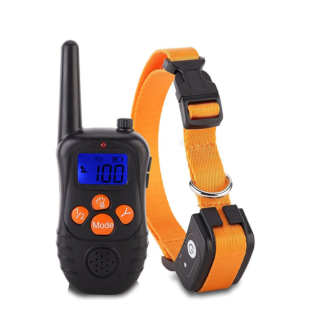 Collares de entrenamiento para perro electrónico con control remoto, pantalla LCD azul recargable, 300 niveles, perro electrónico, novedad de 100 M