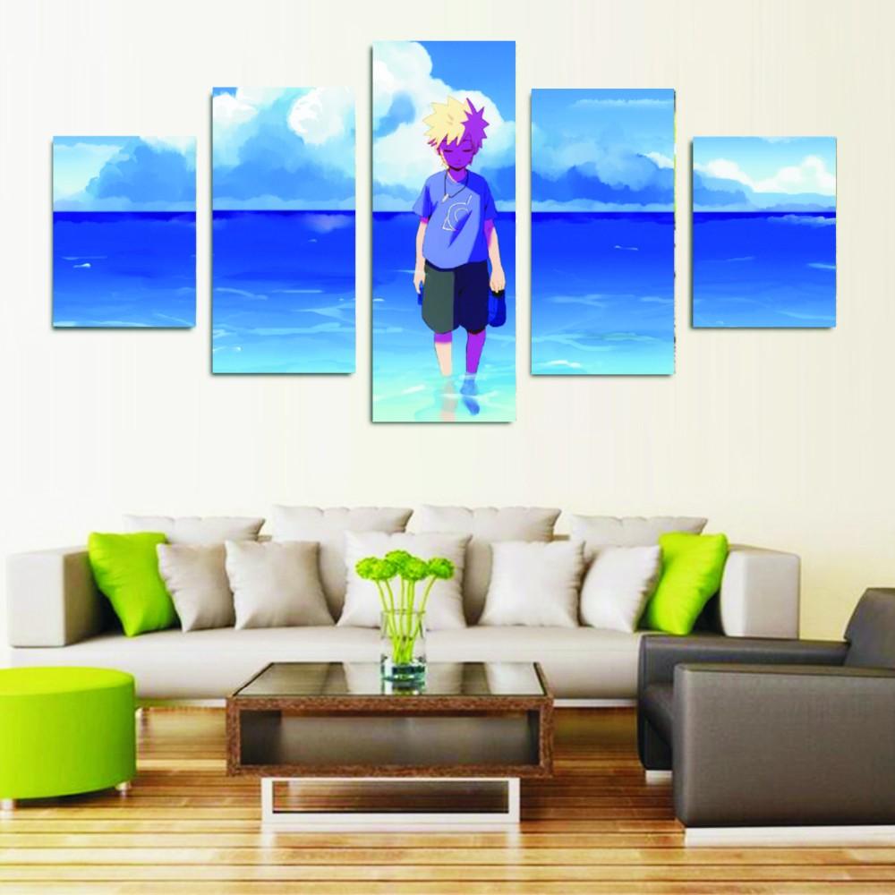 Modulaire mur peintures 5 panneau dessin animé caractère belle naruto affiche décor à la maison moderne
