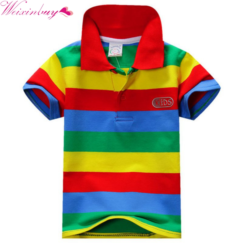 Children\'s Summer Boys Multi Color Short Sleeve Striped Cotton Tops Boy Clothes T Shirt Camisa