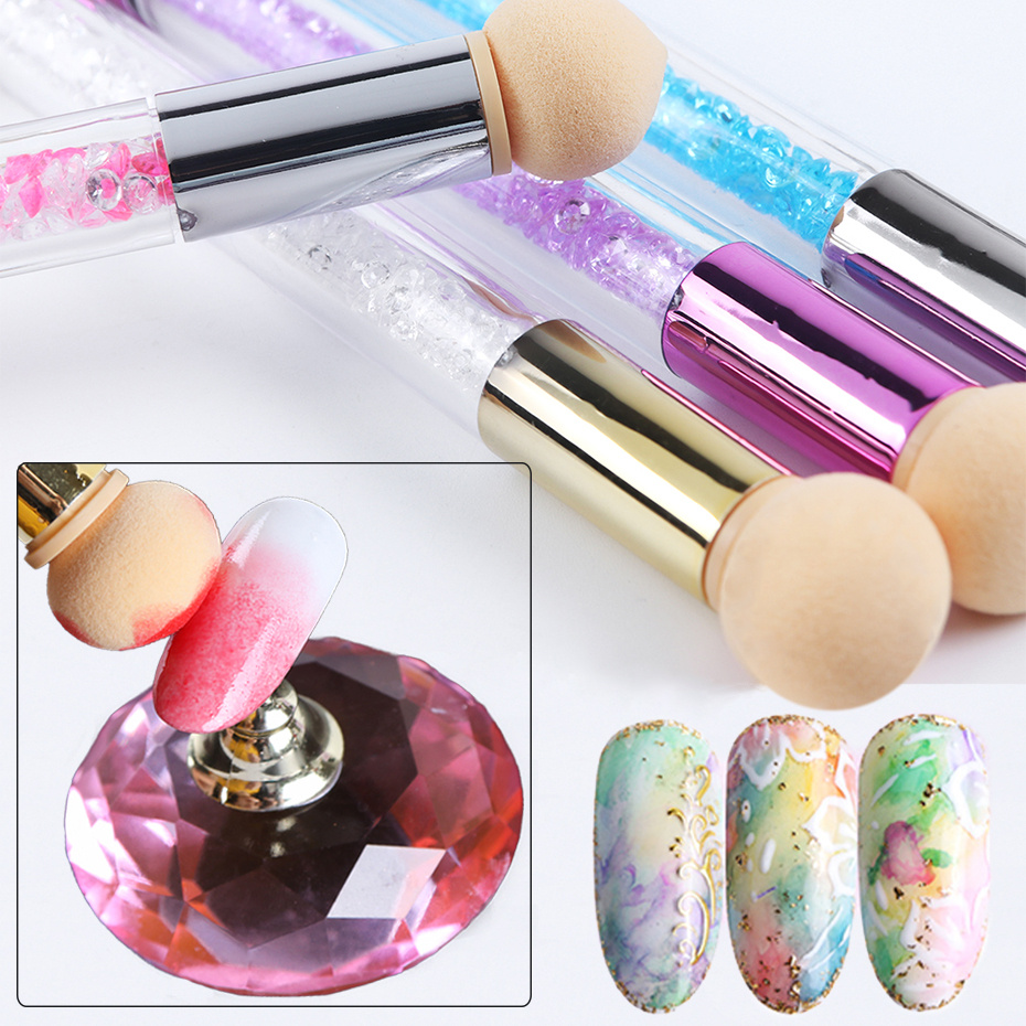 1pcs Double Heads Ombre Sponges Nail Brushes Shinny Rhinestones Gradient Handle Acrylic Drawing Polish Powder Picker Tools LE945