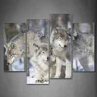 4 Pcs Set Large Animals Three Lazy Wolves Canvas Print Painting Framed Modern Wolves Wall Art