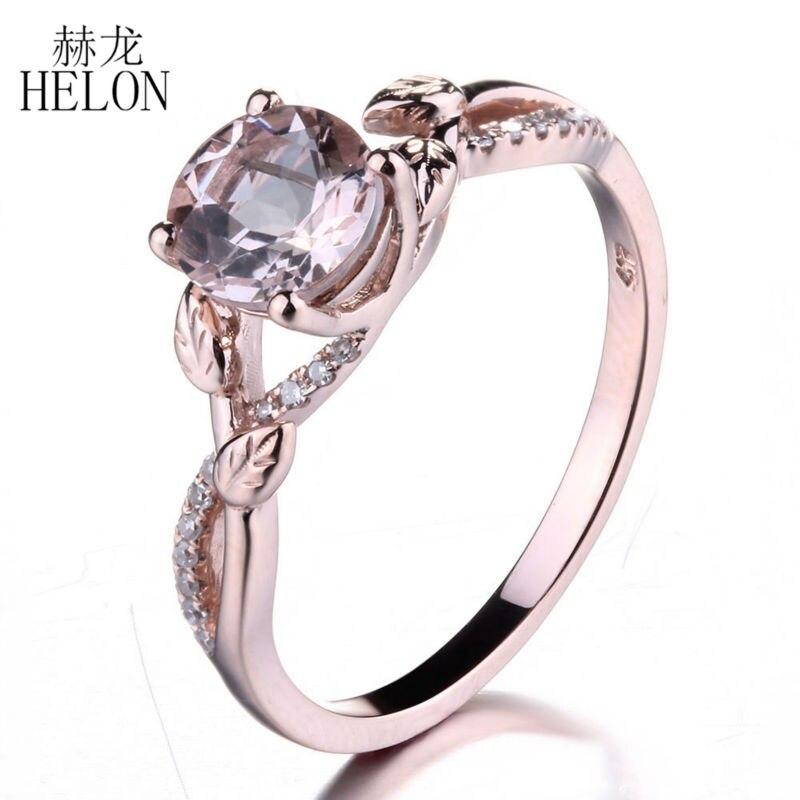 HELON 0 8ct Morganite 6mm Round Pave 0 09ct Natural Diamonds Peridot Gemtones Engagement Wedding Women