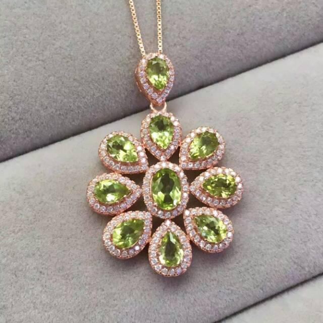 Natural red garnet gem pendant S925 silver Natural green peridot Pendant Necklace trendy Flower group women wedding fine jewelry цена