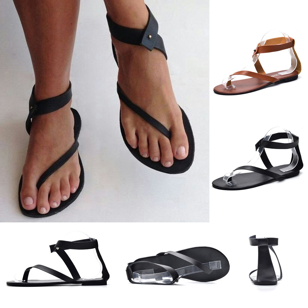 2020 New Womens Casual Comfortable Wedge Sandals Retro Roman Ankle Strap Open Toe Slip On Flat Shoes