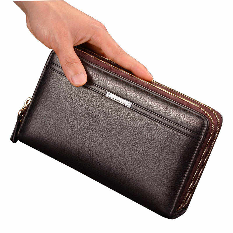 Cartera de marca para hombre con bolsillo de monedas largo doble cremallera monedero Vintage para hombre gran embrague hombre tarjetero hombre carteras