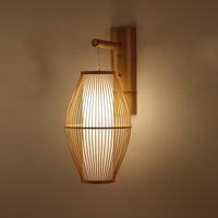 Japanese Wall lamp for Living room Bedroom Tea Shop wooden wall lights Bamboo Wicker Rattan Lantern Lampshade oriental wall lamp