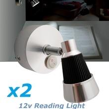 2X12VDC LED Rotate Reading Light Cool/Warm White Bedside Swivel Wall Mount Lights Book interior Lamp RV Caravan Camper Trailer
