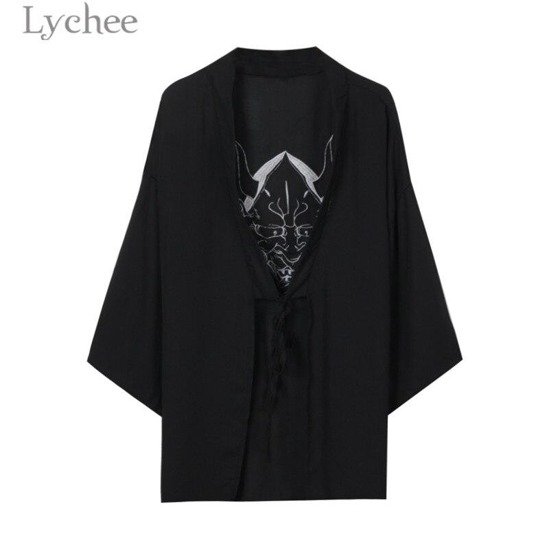 Lychee Harajuku Ghost Mask Embroidery Blouse Cardigan Kimono Causal Long Blouse Shirt Lace Up Loose Sunscreen Blouse Female
