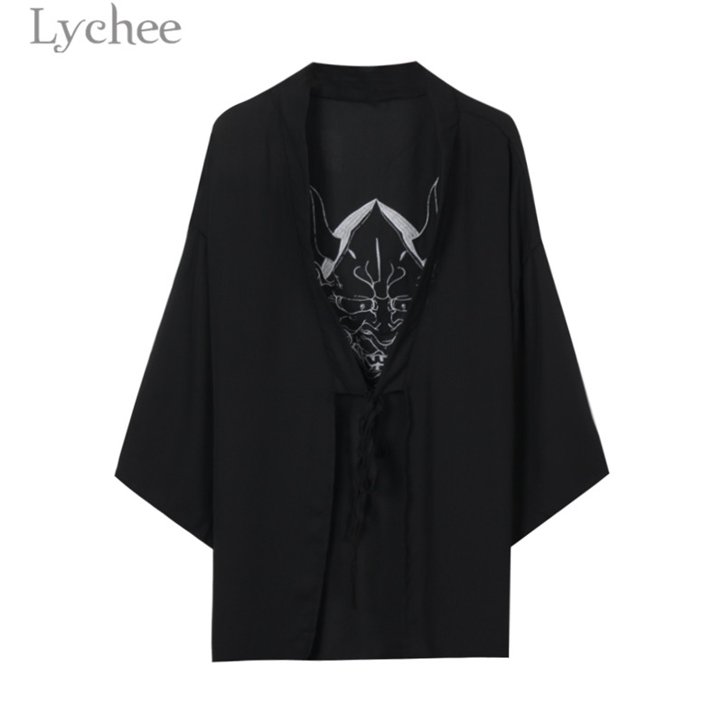 Lychee Harajuku Ghost Mask Embroidery Blouse Cardigan Kimono Causal Long Blouse Shirt Lace Up Loose Sunscreen Blouse Female