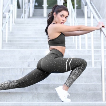 NORMOV New Hotsale Women Gold Print Leggings No Transparent Exercise Fitness Leggings Push Up Workout Female Pants 13