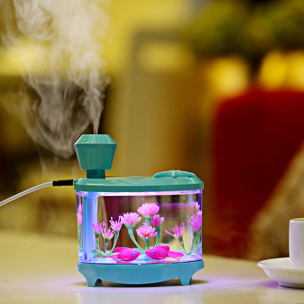 Portable 460ml Fish Tank USB Humidifiers LED Light Air Ultrasonic Humidifier Essential Oil Aroma Diffuser Mist Maker For Home aroma oil diffuser ultrasonic humidifier remote control 10s 2h 4h timer 500ml tank lamp wood ultrasonic humidifiers for home