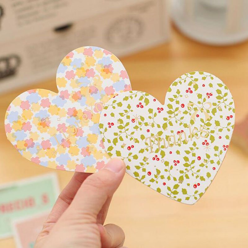 2pc Blessing Heart-Shaped Folding Greeting Card / Message Card With Envelope + Sealing Stickers Creative Love Romantic Lovers