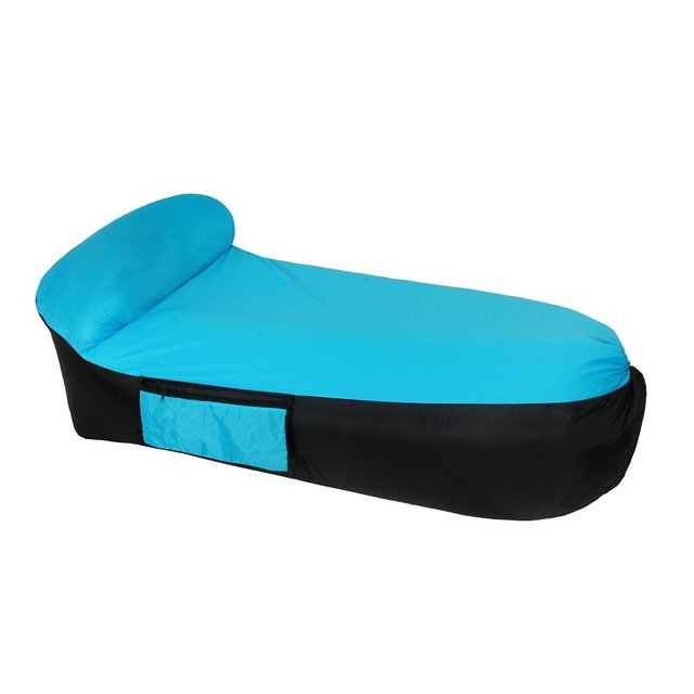 Inflatable Air Sofa Chair Sleeping Bed Portable Camping With Carry Bag Fast Inflate Lazy Beach