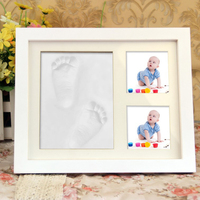 2017 Newborn Baby Wood Photo Frame With Hand And Foot Print Inkpad Footprints Model Dust Proof
