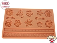 Free Shipping,Food Grade Silicone,Flower Shape,Fondant and Gum Paste Mold,Cake Decoration Mould