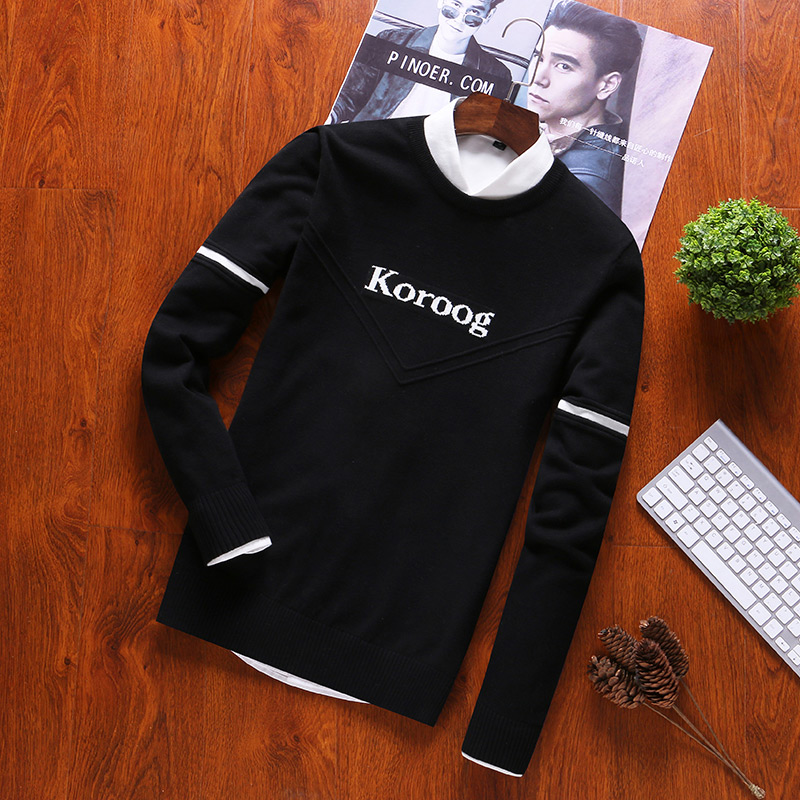 O-Neck Sweater For Male Pullovers Mens Sweaters100% Cotton Casual Long Sleeve Casual Letter Pullovers Sweaters2019 Autumn M-3XL
